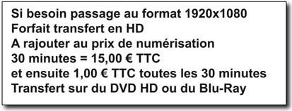 Prix en VHS pour du HD